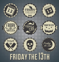 Vector Set: Friday the 13th Labels and Icons