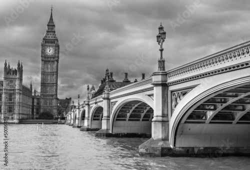 Poster London. Wonderful view of Westminster bridge with Big Ben and Ho