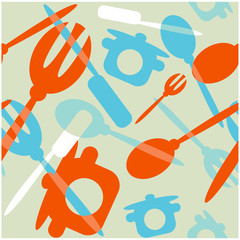Seamless Transparency silverware icons seamless pattern backgrou