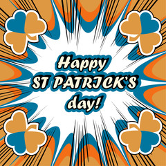 Happy St. Patrick's Day Greeting Card boom retro background
