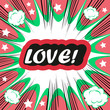 Retro background Design Template boom with word LOVE Comic book