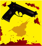 Gun silhouette with blood splatter on a white background Crime c