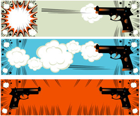 Pop art guns banners set styled illustration on a crime based th