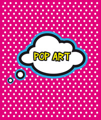 Pop Art cloud bubble on dot background