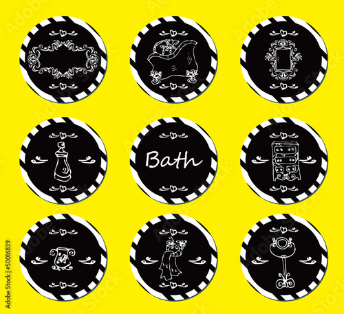 vector set vintage labels - doodley originals bath spa cosmetic