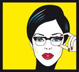 Fototapety Eyewear glasses woman closeup portrait. Woman wearing glasses ho