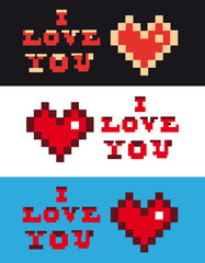 pixel art i love you Heart and Text set