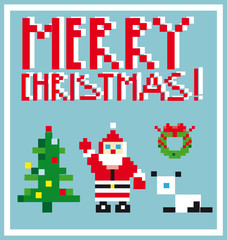 Pixel Holidays People card theme in pixel art style, vector illu