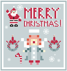Pixel Holidays People card Santa and Angel card /  icons set the