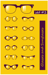 Glasses and Sunglasses silhouettes set