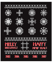 Vector Snowflakes in pixel style  Christmas and New Year greetin