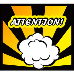 Comic book background Attantion! sign Card Pop Art office stamp