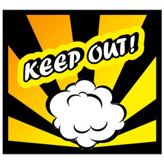 Comic book background Keep out! sign Card Pop Art office stamp w