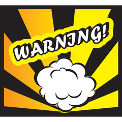 Comic book background Warning! sign Card Pop Art