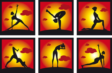 Icons set Silhouette of a beautiful Yoga woman in the morning Po