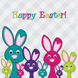 Hiding Easter Bunnies card in vector format.