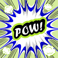 Comic book background POW! concept or conceptual cute POW text o
