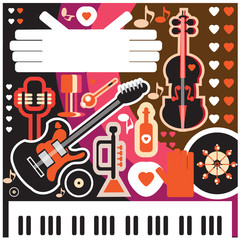 Abstract Music Background - vector illustration. Collage with mu