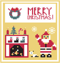 Pixel Holidays Card Christmas living room with Santa background