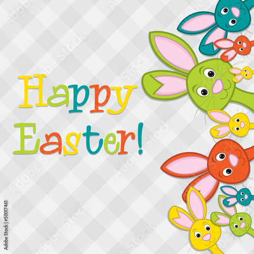 Hiding Easter Bunnies card in vector format.
