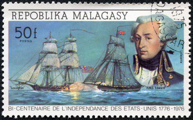 stamp shows Lafayette and ships Lexington and HMS Edward