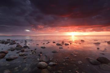 Beautiful baltic ocean scene, sunrise over the coast