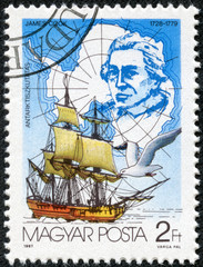 stamp commemorating explorer James Cook's trip to Antarctica