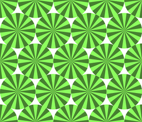 Green striped circles simple seamless pattern, vector