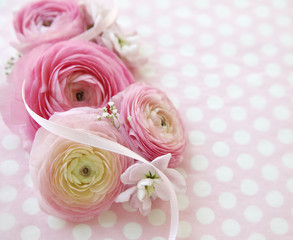 polka dots and pink flowers