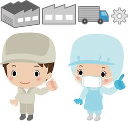工場と作業員のイメージ