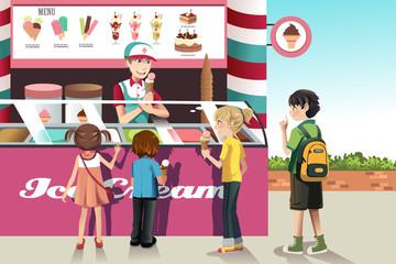 Kids buying ice cream