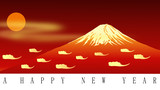 Red Fuji Mt. for happy new year, vector file