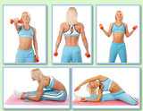 Blond woman is demonstrating exercises on the camera
