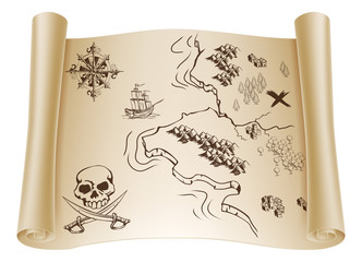 Old Treasure map on scroll