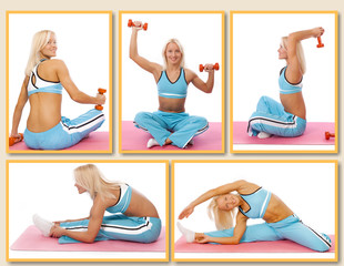 Trainer is demonstrating some exercises with dumbbells