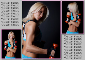 Blond muscle woman with red dumbbells on black background