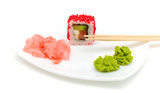 Japanese cuisine. rolls, wasabi and pickled ginger.