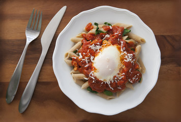 Poached Egg and Marinara Pasta
