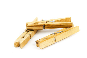 clothespin on the white background