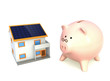 piggy bank and house with solar panel