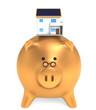 golden piggy bank with house. money saving for house concept