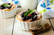 Cottage cheese souffle with black currant