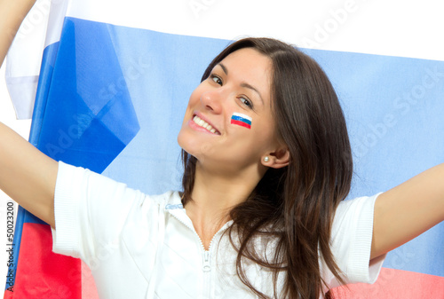 Happy russian soccer fan with russian national flag