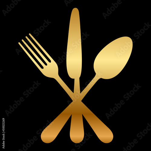 Vector illustration of gold cutlery icon