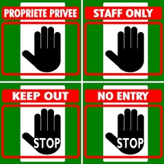 CARTELLI MULTILINGUA NO ENTRY STAFF ONLY