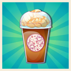 Delicious cold caramel frappe ice-cream colorful card