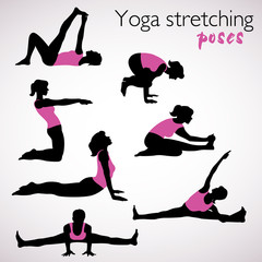 Beautiful set of yoga stretching poses silhouettes