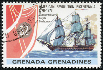 stamp printed in Grenada shows image of the frigate Confederacy
