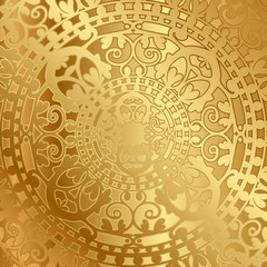 Vector gold background with oriental decoration
