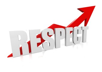 Respect with upward red arrow